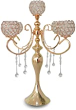 LANLONG Classic 25.5 Inch Gold 5 Candle Candelabra - Classic Elegant Design - Wedding, Dinner Party and Formal Event Centerpiece - Gold Mirrored Finish with Hanging Acrylic Crystals (Gold)