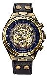 Luxury Automatic Mechanical Men's Leather Belt Fashion Steampunk Bronze Steel Waterproof Skeleton Watch