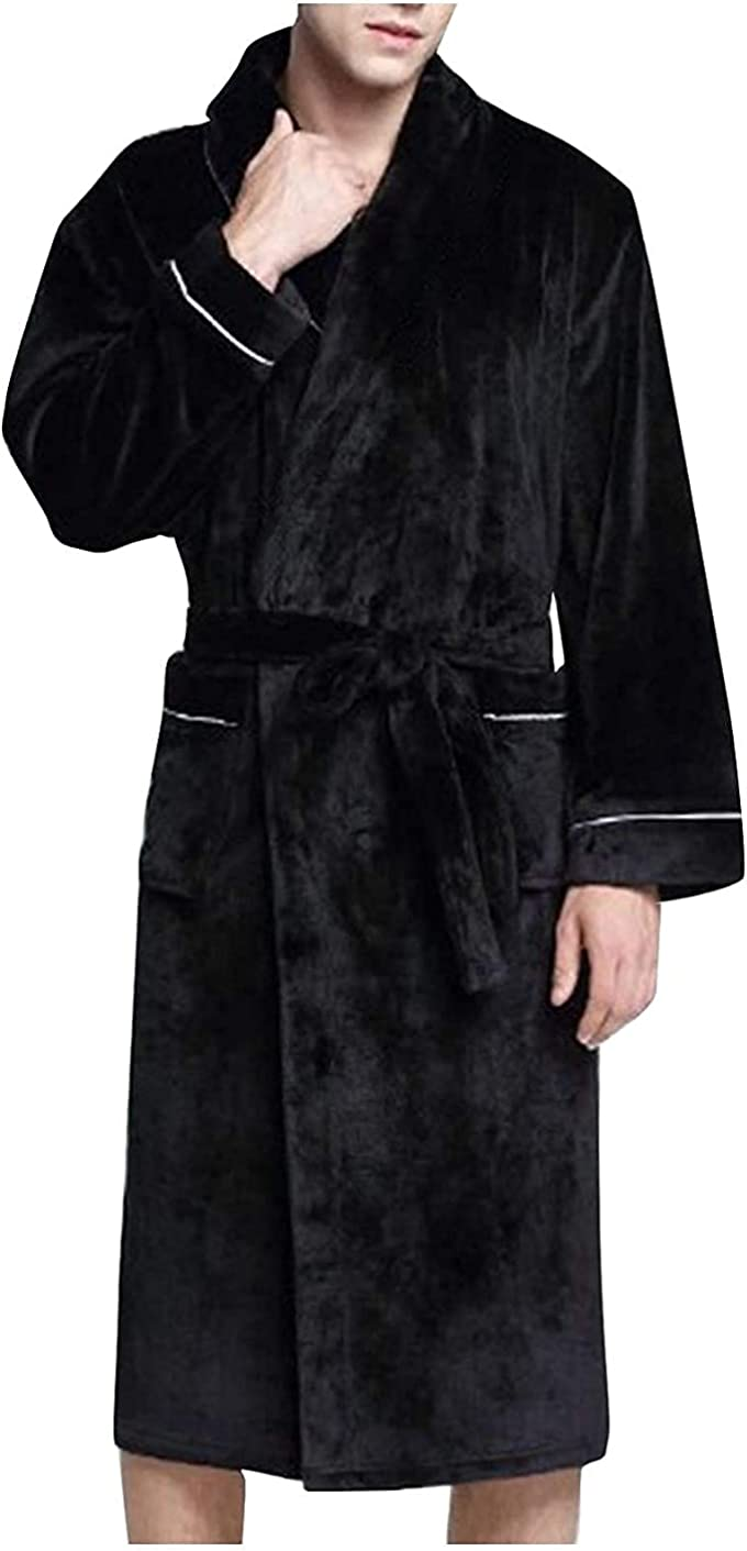 Thatso Men's Warm Fleece Robe, Ultra Soft Plush Cozy Lightweight Shawl Collar Bathrobes Kimono Hotel Spa Robes (S, Black)