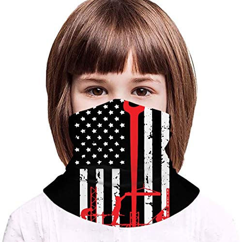 Ironworker America Flag Boys Girls Balaclava Face Bandana Neck Gaiter Teens Head Wrap for Outdoor