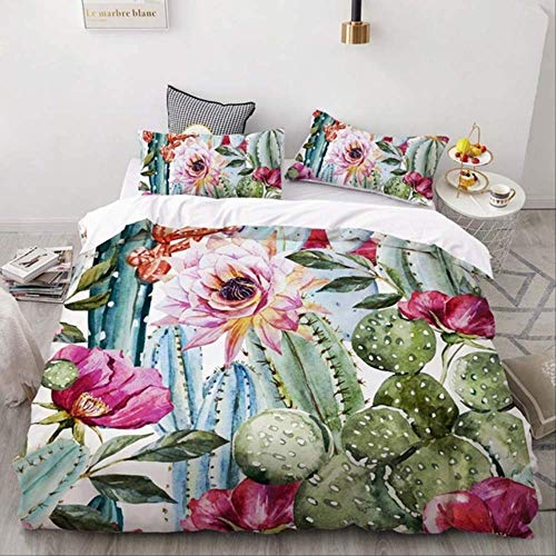 WGLG Double Bedding Duvet Set, 3D Printing Nordic Cactus Bedding Set Summer Duvet Cover Pillowcase Luxury Home Textiles Bed Linen Comfortable Set