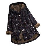 WOZOW Imprimées Outwear Jacket Plus Size Vintage Print Asymétrique Bouton à Capuche Manteau Capuche Femmes Hiver...
