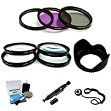 UltraPro 40.5mm Premium Filter Kit (UV, CPL, FLD), Close-Up Macro Filter Set +1 +2 +4 +10 and Lens Hood Bundle for Select Sony Digital Cameras Deluxe Accessory Set Included