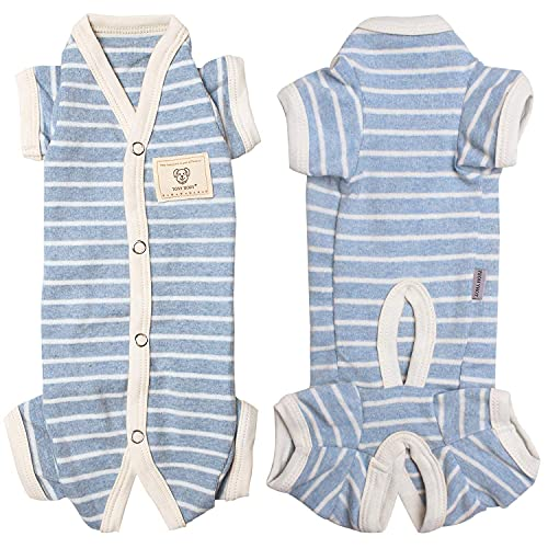 TONY HOBY Female/Male Pet Dog Pajamas Stripes 4 Legged Dog pjs Jumpsuit Soft Cotton Dog Clothes(S, Blue+White-Boys)