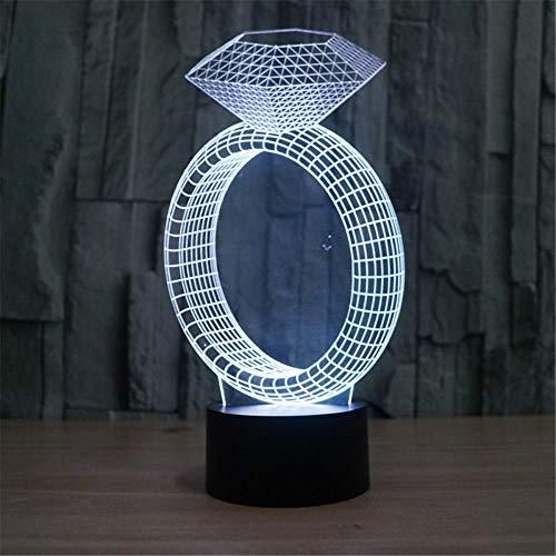 Sleeplite - Luz nocturna para niños, anillo de diamante, lámpara de ilusión 3D, 16 colores cambiantes de luz nocturna con control remoto, regalo de cumpleaños para niños