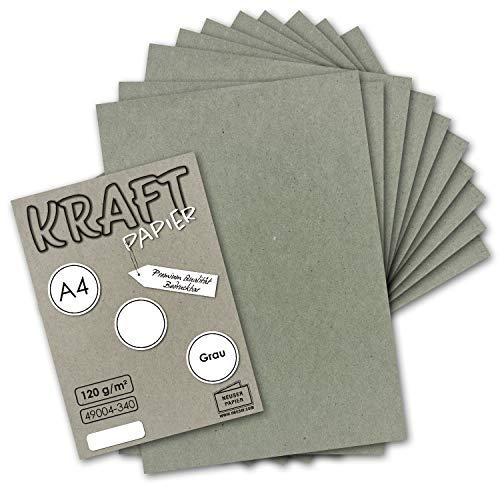50 Blatt I Vintage Kraftpapier in Grau DIN A4 120 g/m² graues Recycling-Papier, 100% ökologisch Brief-Bogen - Briefpapier I UmWelt by GUSTAV NEUSER®