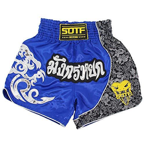 SOTF Muay Thai Fight Shorts für Kinder Herren Elastische Taille Kickboxen MMA Shorts - Blau - M Taille 64/79 cm