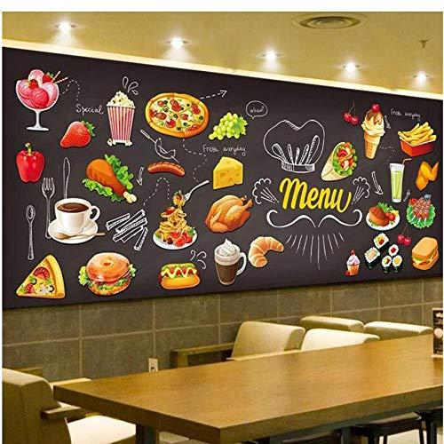 Tafel Graffiti Lebensmittel Wandbild Tapete Konditorei Cafe Hamburger Shop Restaurant Aufkleber Sofa Hintergrund Büro Kunst Seidentuch Wohnkultur,300X210cm