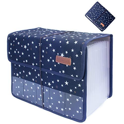 Oak-Pine Cute Portable Expandable Accordion 13 Pockets A4 Letter Size File Folder Oxford Expanding Document Wallet Briefcase Business File Organizer Bag with Transparent Card Slot (Blue Star)