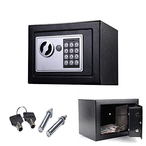 Mini-Tresor | 23 x 17 x 17 cm | Digital Elektronischer Safe mit PIN-Code und Schlüssel| Doppelbolzenverriegelung | Wandtresor | Möbeltresor | Mini-Safe | Wertvolle Objekte aufbewahren | Schwarz