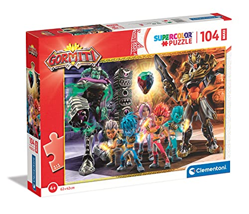 Clementoni Supercolor Gormiti 104 Maxi Piezas – Fabricado en Italia, Puzzle para niños de 4 años, puzle Dibujos Animados, Multicolor (23761)