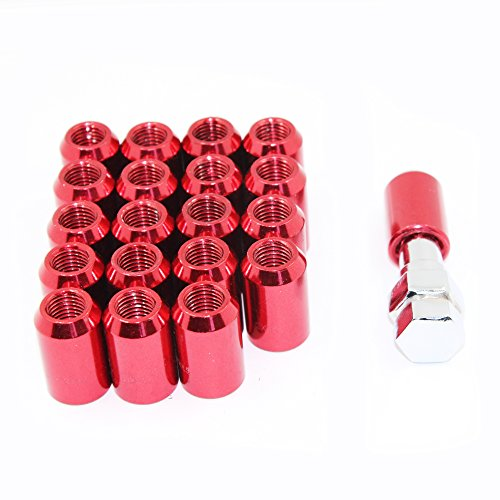 MODAUTO Juego de Tuercas Abiertas para Esparrago Rueda o Separadores, con Llave de Apriete Hexagonal, Paso de Rosca M12 X 1,50mm, 20Pcs, Modelo F320BRD, Color Rojo