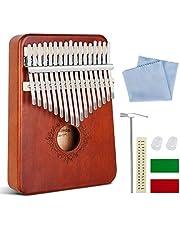 Gobesty Kalimba 17 nycklar, tumpiano-mahognyfinger tumme piano med studieinstruktion och tune-hammare, fingerinstrument för barn vuxna nybörjare
