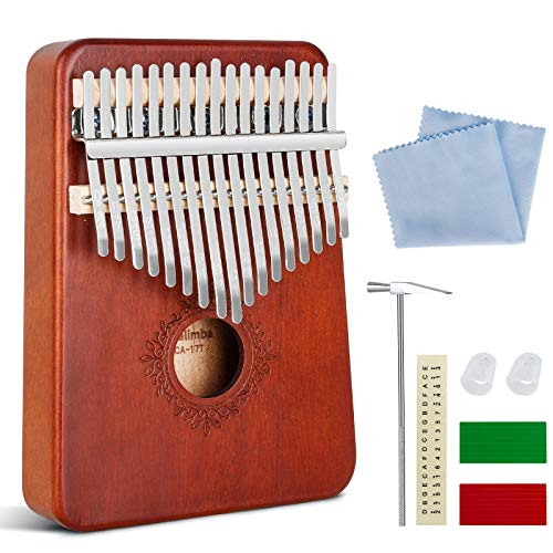 Gobesty Kalimba 17 Schlüssel, Kalimba Daumenklavier Daumen-Klavier mit Lernanleitung und Stimmhammer, Finger Klavier Thumb Piano für Kinder Erwachsene Anfänger