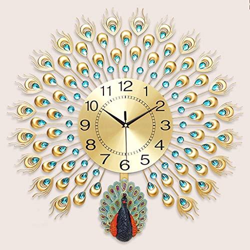 Bidesen Maison Déco Horloge Murale décorative en Cristal de Paon pour Le Salon Horloge Moderne Non à retardement Horloge européenne de Chambre muette Horloge à Quartz (Couleur : Or, Taille : B)