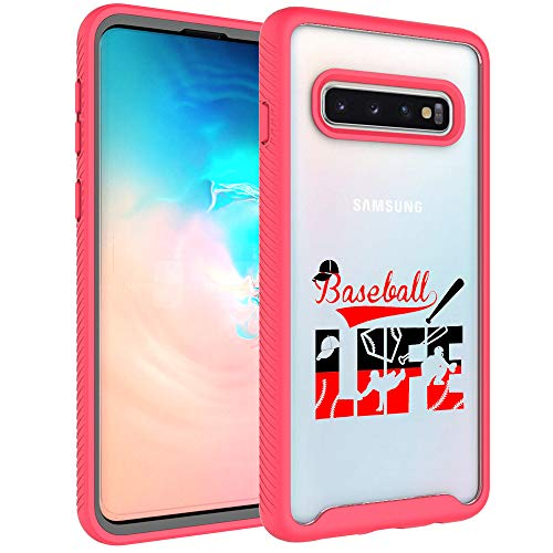 Galaxy S10 Case, Galaxy S10 Bumper - Baseball Life Sport Pattern Dual Layer Armor Defender Shockproof Crystal Clear Back Case Heavy Duty Soft TPU Rubber Bumper Protective Cover for Samsung Galaxy S10