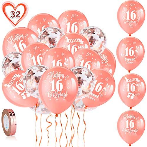 HOWAF Globos de cumpleaños, 30 Piezas 16 años cumpleaños Globos de Latex, Oro Rosa Globos de Confeti y 2 Cintas para Chico y Chica Fiestas de 16 cumpleaños decoración Suministros