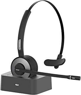 Bluetooth Headset,YAMAY Wireless Headset with Microphone Charging Station,Noise Cancelling Handsfree Bluetooth Headset for...