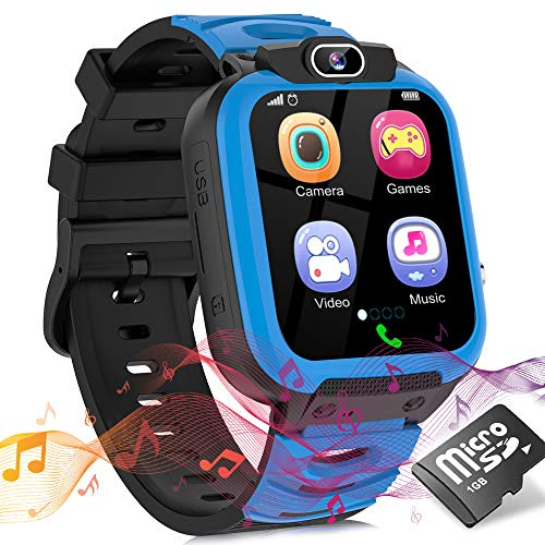 Smartwatch Kinder Uhr Telefon Smartwatches für Kinder Mädchen Jungen mit Musik Player Spiel Kamera SOS Wecker Recorder, Smart Watches for Kids, Geburtstagsgeschenk für Kinder (Dark Blue)