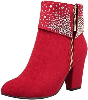 Sunday Enkellaarzen voor dames, hoge hakken, met strassteentjes, elegant, feestschoenen, hoge hakken, korte laarzen met ri...