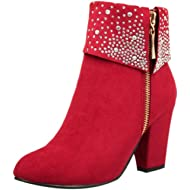Womens Sexy Crystal Ankle Boots Thick Square Heels Side Zipper Party Booties Warm Round Toe Shoes...