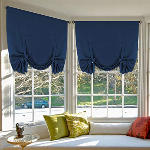 Blackout Tie Up Curtains Light Reducing Energy Efficient Window Shades Rod Pocket Panels for Kid's Room (Set of 2 Panels, Navy Curtain, 42W x 63L) - H.Versailtex