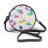 Bolso de hombro de piel suave con diseño de vectores retro con cremallera y diseño de círculos