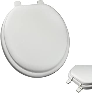 Deluxe White Round Soft Cushioned Padded Toilet Seat with Closed Front, Quick Clean