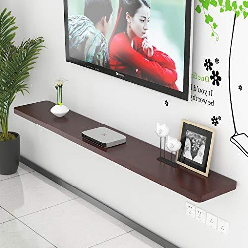 Estantería de pared de TV de madera maciza Estante de sala de TV Caja de conexión de TV Gabinete de TV decorativo de pared montado en la pared Partición de Word ( color : Caoba , Tamaño : A )