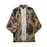 Mens Womens Open Front Cardigan Fashion 3/4 Sleeve Printed Kimono Jacket Casual Shirts Top Blouse Lightweight Poncho Cloak Cape (XXL, Black (D))