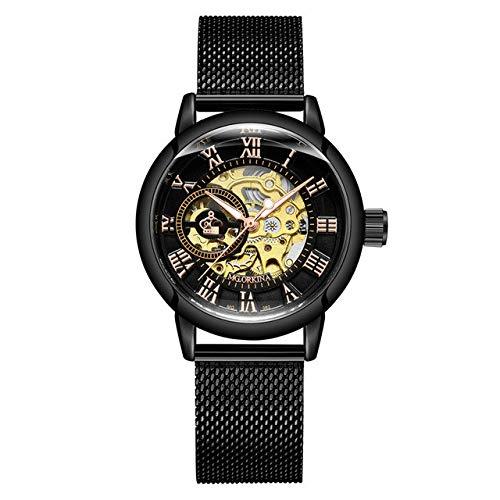 Rose Gold Damen Automatische Mechanische Skelettuhren Mesh Edelstahl Mode Lässig Damen Armbanduhr Geschenke Für Frauen 24cm schwarz