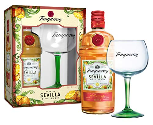 Tanqueray Flor De Sevilla Distilled Gin – Fruchtiger und mediterraner Gin mit bitter-süßem Orangenaroma – 1 x 0,7l mit Copa-Glas