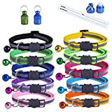 Extodry 12 Pack Reflective Cat Collars, Kitten Collar with Bells and Safety Quick Release Buckle, Adjustable 20-34cm, Ideal Size Pet Collars for Cats or Small Dogs(10 Colors & 2 pack Anti-Lost Tags)