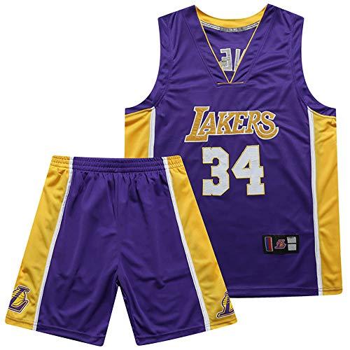 Herren Basketball Trikots, Los Angeles Lakers # 34 Shaquille O'Neal Swingman NBA Trikot, Klassische Bequeme Atmungsaktive Unisex Fan Uniform,Lila,S