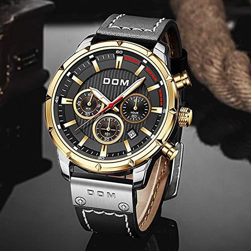 Reloj deportivo de zafiro para hombre de lujo militar de cuero reloj cronógrafo