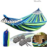 Meneflix Cotton Rollover Portable Outdoor Canvas Hammock with Wooden Stick, Rainbow Colour