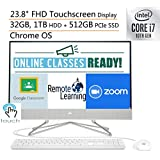 "2020 HP 24 AIO 23.8"" FHD Touchscreen All in One Desktop Computer, 10th Gen Intel Quard-Core i7-10510U, 32GB DDR4 RAM, 1TB HDD + 512GB PCIe SSD, Windows 10, iPuzzle Mousepad, Online Class Ready"