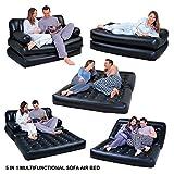 Hinchable multifunción 5en 1. Doble cama de aire, sofá, silla, sofá cama, colchón, vinilo, negro, 5 in 1 Sofa Air Bed Couch