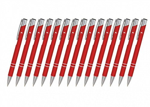 Creativgravur 15 Metall-Kugelschreiber-Set Magic, Blaue Großraummine, Farbe:C-06 (rot)