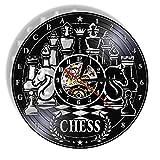 RFTGH Juego de ajedrez Disco de Vinilo Reloj de Pared Tablero de ajedrez Antiguo diseño Moderno Reloj Club de ajedrez Colgante Art Deco Logo Amantes del ajedrez Regalos