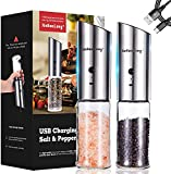 [2021 Latest]USB Rechargeable Salt and Pepper Grinder Set,Stainless Steel Salt and Pepper Grinders...