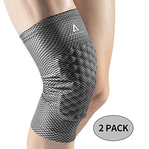 Anoopsyche Kniebandage Sport, 2 Kompression Knieschoner mit Eva-Luftkissen, rutschfestes Design für Männer&Damen, Sportknieschützer für Laufen,Basketball und Wandern