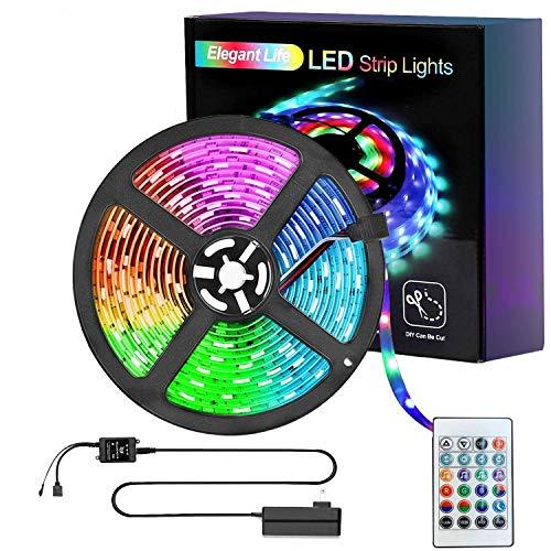 LED Strip 5m Lichtstreifen Beleuchtung, Lichtleiste 32,8ft RGB SMD Lichterketten, IR-Fernbedienung Wireless gesteuert, LED-Leuchten für Party, Schlafzimmer, Home, TV, Küche Dekoration