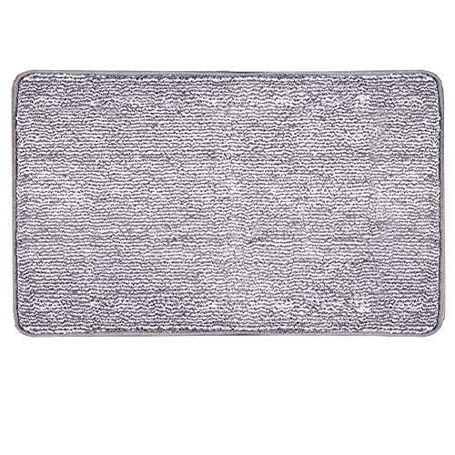 "Indoor Doormat Front Door Mat Non Slip Rubber Backing Super Absorbent Mud and Snow Magic Inside Dirts Trapper Mats Entrance Door Rug Shoes Scraper Machine Washable Rug Carpet - Grey, 20""x 32"""