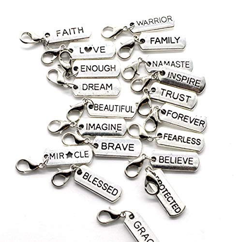 M&T 20PCS Silver Tone No-Repeat Words Clip-On Charms Pendants, Jewelry DIY Supply Wholesale C25