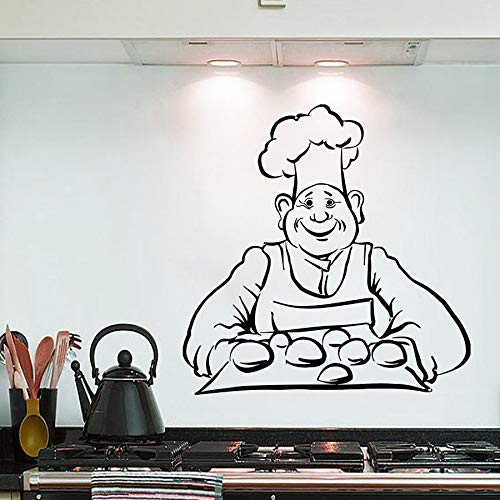 Tianpengyuanshuai Wandaufkleber Chef Brot Backen Wandtattoo Küche Design Wandkunst Vinyl 63X64cm