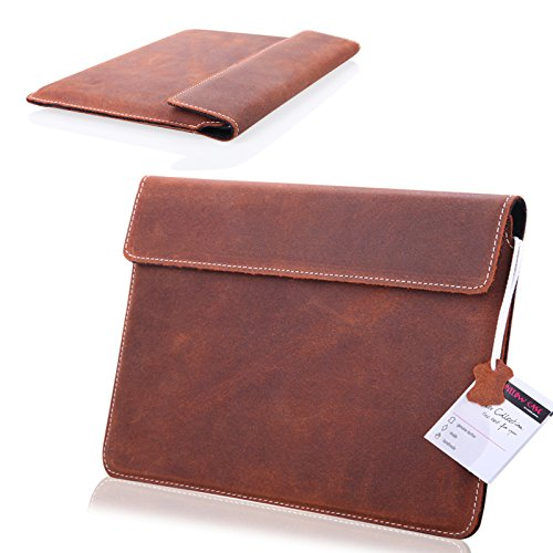 MOELECTRONIX 1A ECHT Leder Tablet BRAUN Slim Cover Hülle Tasche Schutz Hülle Etui passend für Xoro PAD 10W6 3G