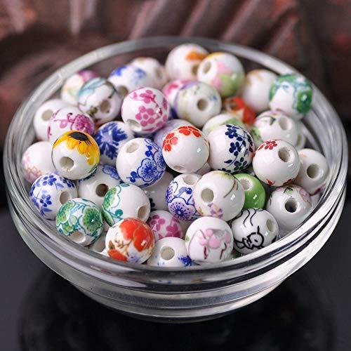 UBERMing 100 Stück 10mm Runde Blume Perlen Bunte Perlen Auffädeln Keramikperlen Runde Lose Perle für DIY Schmuck Arts Crafts Halskette Armreif