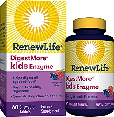 Renew Life Kids Digestive Plant-Based Enzyme Supplement - DigestMore Kids Enzyme, Berry Blast - 60 Chewable Tablets