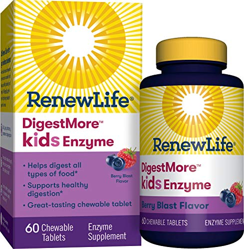 Renew Life Kids Digestive Plant-Based Enzyme Supplement - DigestMore Kids Enzyme, Berry Blast - 60 Chewable Tablets (Package May Vary)